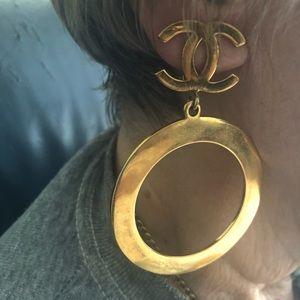 Vintage Huge Chanel Gold Earrings